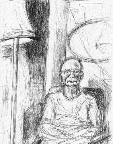 SOLD 'Portrait of Caretaker John 2, in Office' 2001 by Jonathan Peter Smith