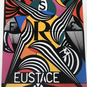 Abstact painting with black and white shapes and bold yellow, red and pink colours