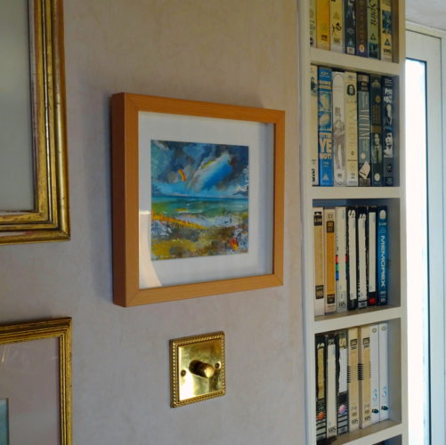 SOLD – a painting of mine mounted and framed, up on a collector's wall by Jonathan Peter Smith