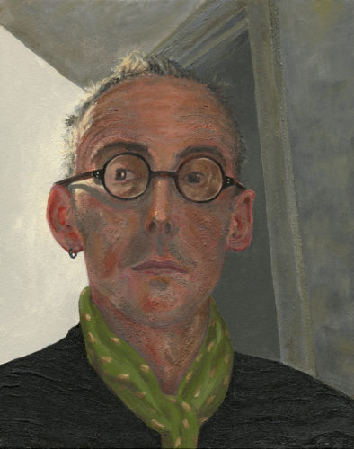 Self Portrait with Green Scarf by graham Rees