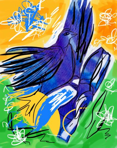 Blue Bird series of art by Juliette Goddard