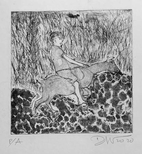 Goat and Boy riding by darcio amaral