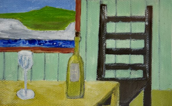 Chair, Table, Wine, Painting by Cathy Chilly