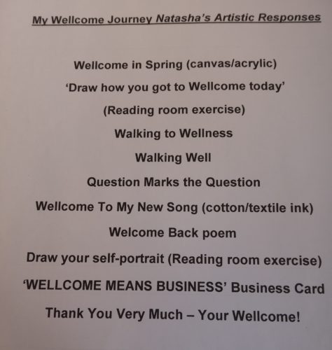 My Step Up Course Art List by Natasha H