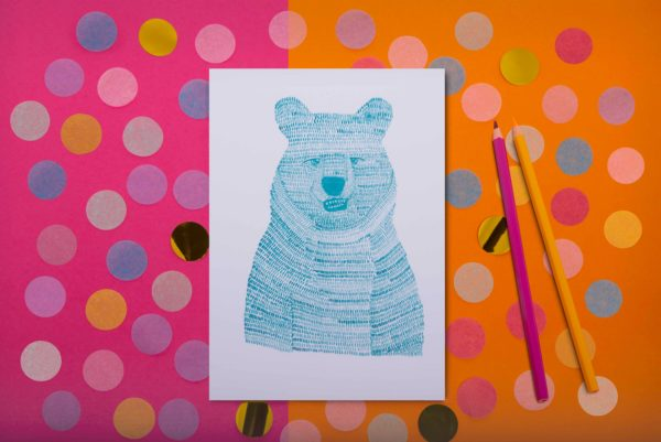 Turquoise Bear by Livvy Rose Studio