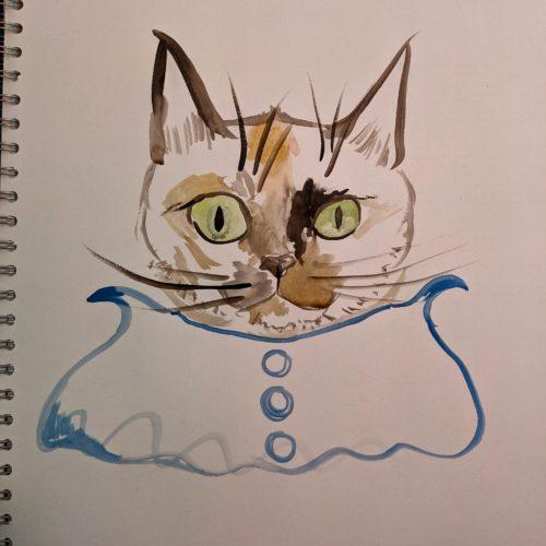 Cat with bib by Ana Tewson-Bozic