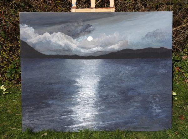 Moonlight Over Lake by Mark Noble Art