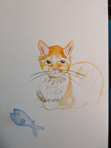 Cat with fish by Ana Tewson-Bozic