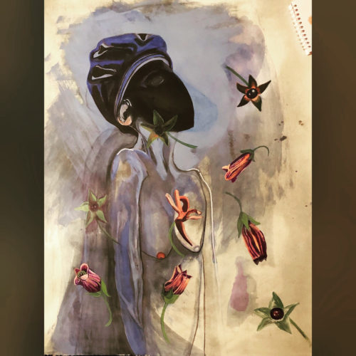 Silence Mask 2 – Deadly Nightshade symbolising Silence. by Joanne pudney